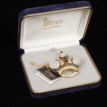 Trifari Crown jelly commemorative pin with original tag and box.