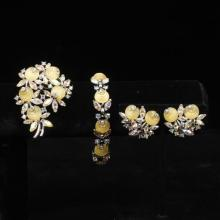 Trifari 3pc. parure; silver tone with yellow molded flowers and rhinestones.