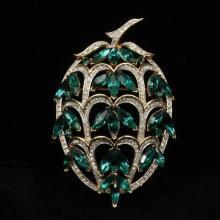 Trifari Alfred Philippe jewel encrusted fruit brooch pin; gold wash with emerald green diamante rhinestones.