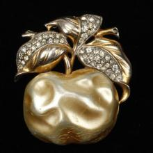 Trifari Alfred Philippe gold tone and pave rhinestone pearl belly apple fruit brooch / pin clip.