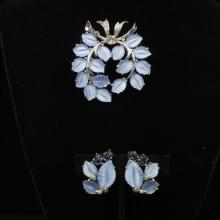 Jomaz silver tone pin and earrings SET; blue molded glass leaves and sapphire florals with rhinestones.