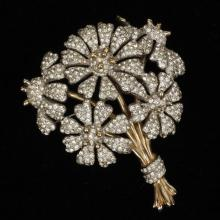 Halbe pave floral bouquet brooch pin with gold wash, 1930s.