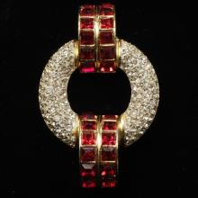 Ben Amun art deco pave and ruby red diamante gold tone 'buckle' brooch pin.
