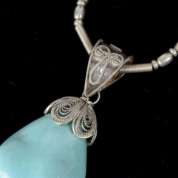 Sterling and silver turquoise jewelry 3pc necklace and two for Silver jewelry repair indianapolis