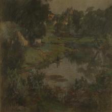 Otto Stark, (Indiana, 1859-1926), Irvington Landscape, Pastel, 17