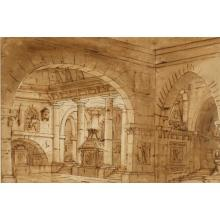 Italian school 17th Century old master Baroque genre interior view of a cathedral, ink wash on paper.