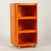 Mid Century Modern orange plastic Italian designer modular rolling storage cart.