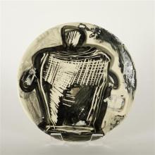 David DeMelo, modern paint decorated platter, American studio ceramic, 13