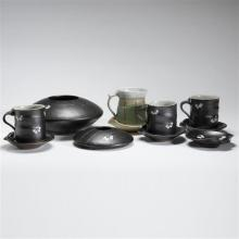 John Peterson, (American, 20th Century), collection of studio pottery mugs, trays, and center bowls, glazed ceramic, 4 1/4