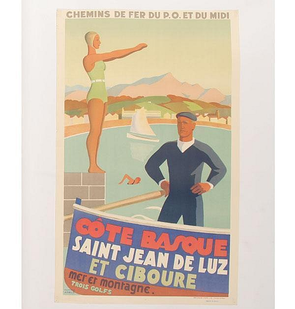 Ramiro Arrue Vintage Travel Poster of Cote Basque