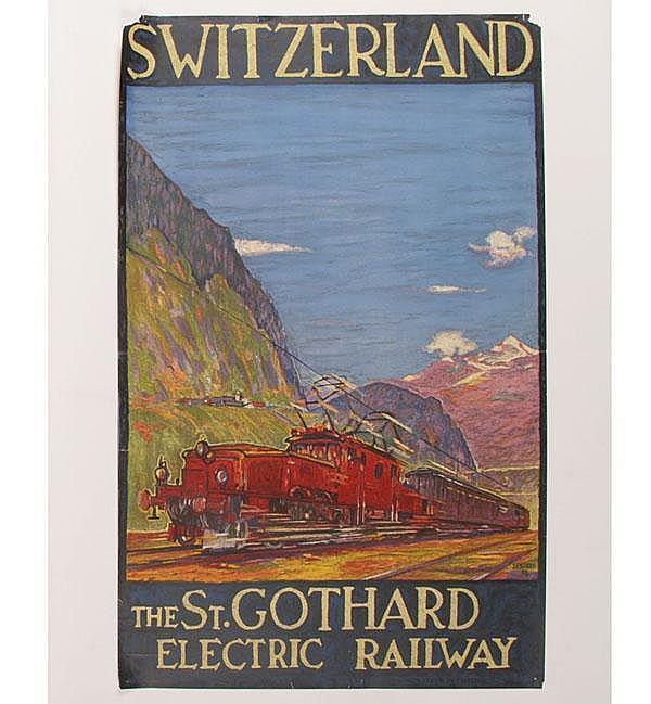 D. Buzzi Switzerland St. Gothard Railway Poster