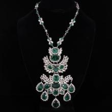 Splendid Vintage Christian Dior Emerald Gripoix and Crystal Chandelier Necklace with pin pendant; Marked 1970 Chr. Dior Germany