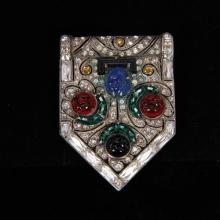 Art Deco Sterling Silver Paste Clip with Molded Jewel Tone & Jet Glass Flowers.