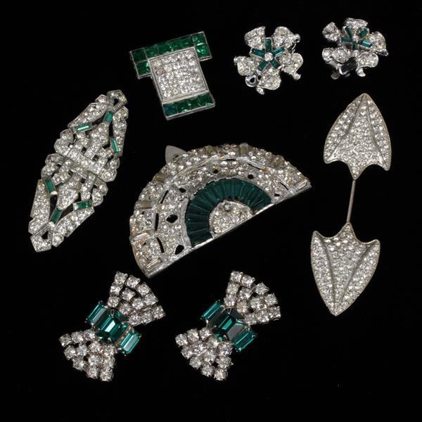 Lot of 6 vintage art deco costume jewelry diamante and pave for Art deco costume jewelry