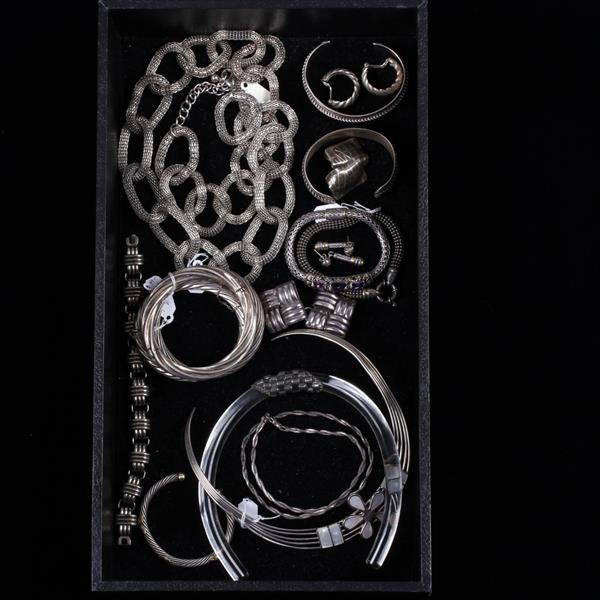 Vintage sterling and silver tone costume jewelry lot with lu for Silver jewelry repair indianapolis
