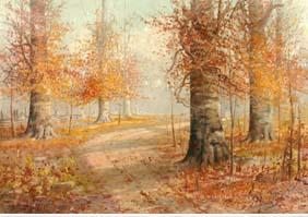 BryanTarlton Oil 1940 Autumn Birch trees