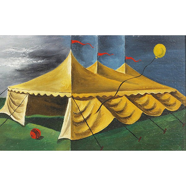 James Harold Noecker, (American, 1912-2002), Circus Tent, Oil on board, 9.5