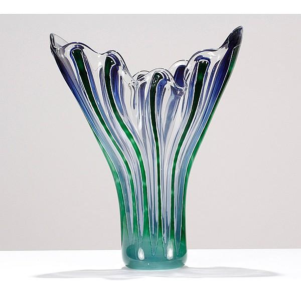 Richard Royal, American; born 1952, Diamond Cut Vessel, 1991, blown glass, 26