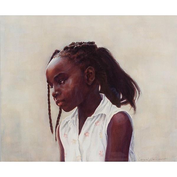 Leroy Allen, (African-American; 1958 - 2007), Innocence, Watercolor on paper, 28