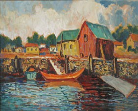 Francis F. Brown Post Impressionist Harbor Scene
