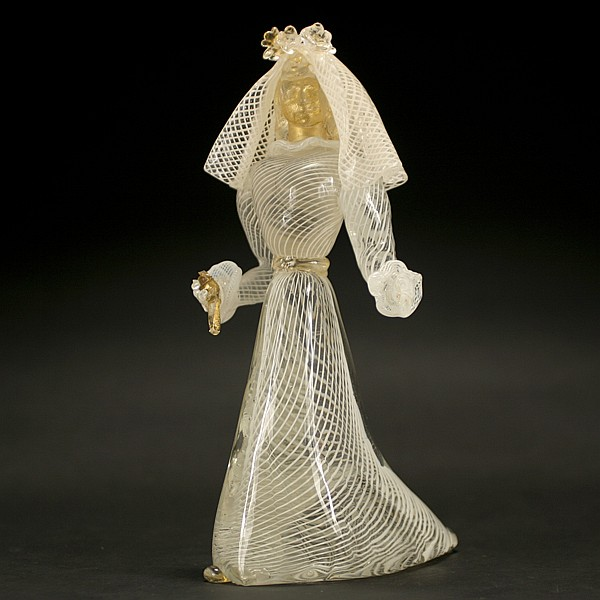 Murano glass bride figurine, possibly from Aureliano Toso.