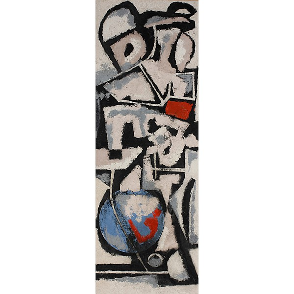 Columbus Bell, (African-American; 20th C.), Abstract Composition, Oil on masonite, 50