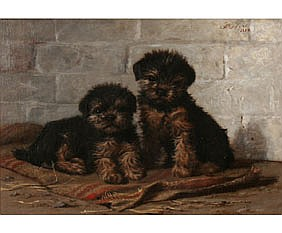 Rogers 1888 Yorkie Puppies Oil on Canvas