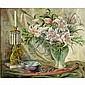 Maude Kaufman Eggemeyer, (1877 - 1959), floral still life w/ stargazer lilies & figural lustre candlestick, oil on canvas, 30