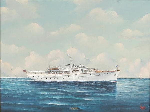 Joe Selby Yacht/Ship Wilmar Kansas Oil on Board