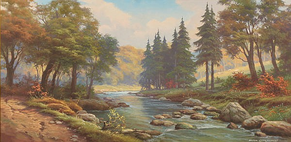 Anton Gutknecht, (German/American 1907-1988), mountain stream landscape, oil on canvas, 24