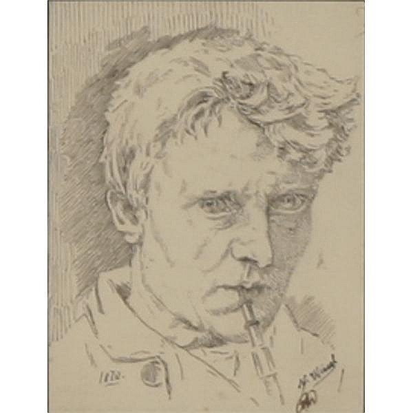 Niels Wiwel, (Danish; 1855-1914), Portrait of a smoking man, Pen and ink on paper., 3 3/4