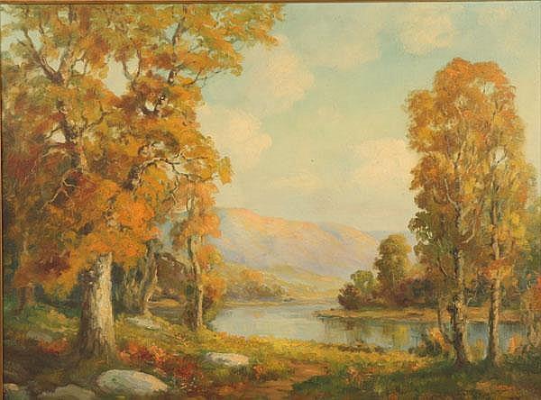 Elmer S Berge Autumn Mountain Landscape Oil Canvas