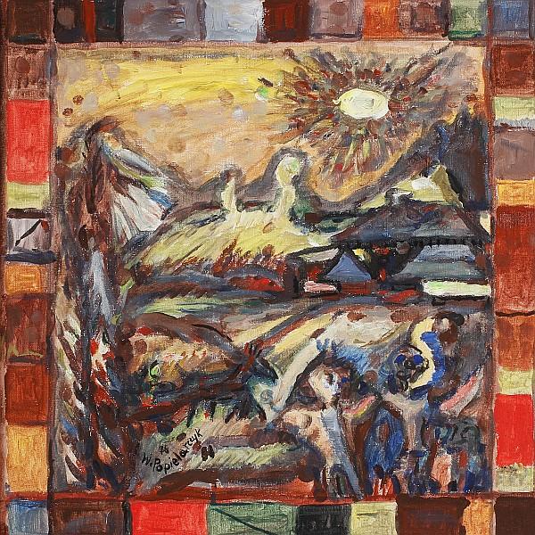 Wladislaw Popielarczyk, (Polish; 1925 - 1987), The Head in Landscape, Oil on canvas., 22