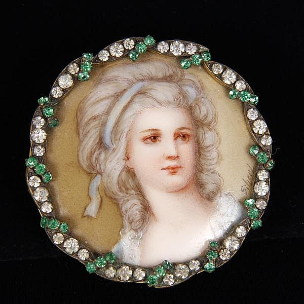 French Miniature Portrait of a young lady on ivory mounted as a Pin Brooch Pendant with jeweled frame.