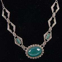 Sterling Silver Art Deco Necklace with marcasite and chrysoprase jewels.