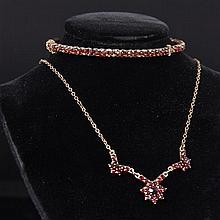 Victorian / Edwardian 2pc. Gold Filled Garnet Necklace & Bangle Bracelet.
