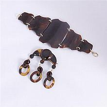 Antique Edwardian / Art Deco Tortoise Shell 2pc. Bracelet & Drop Brooch Pin