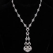 Vintage Art Deco Rhinestone Diamante Necklace with Pave Link Drop.