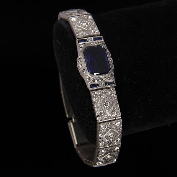 Vintage Art Deco bracelet with sapphire crystal & clear rhinestones, marked ALLCO.