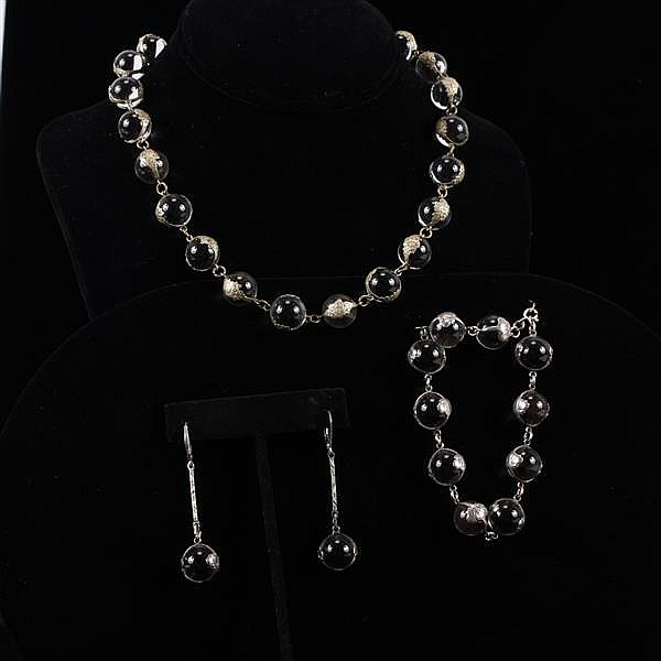 Antique Edwardian 3pc. Floral Sterling Silver overlay wrapped Colorless Crystal Beaded Necklace, Bracelet, & Earrings