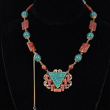 Czech Art Deco Chinese Motif Molded Jade and Carnelian Color Peking Glass on Brass Necklace.
