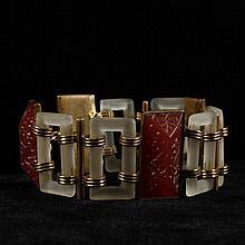 Czech Art Deco intaglio bohemian carnelian glass on brass bracelet with frosted crystal open rectangle links marked Czechoslovakia.