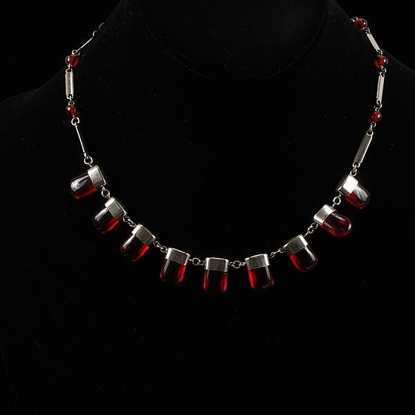 French Art Deco Chrome and Red Galalith Cherry Juice Necklace
