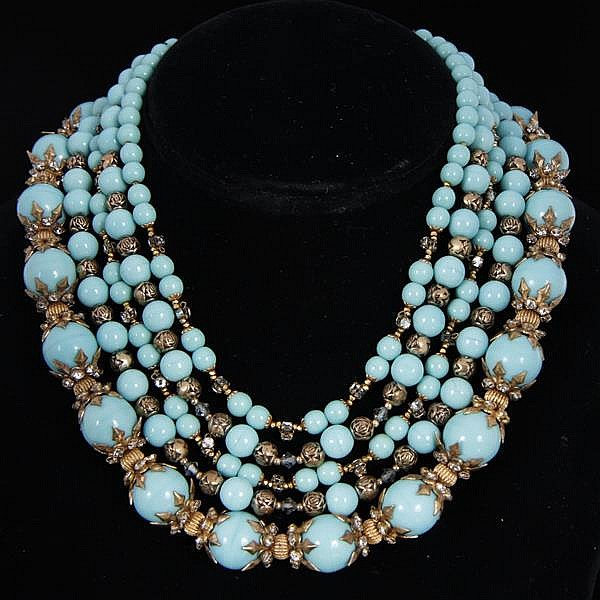 Miriam Haskell Multi-strand turquoise blue art deco necklace with gilt metal & rhinestones.