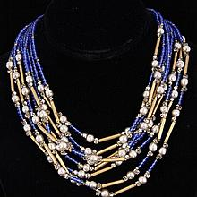Miriam Haskell Multi-strand Faux Pearl & Blue / Gold Beaded Necklace