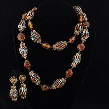 Miriam Haskell 2pc. Set; Multicolor Caged Glass Bead & Gilt Metal Necklace & Clip Earrings