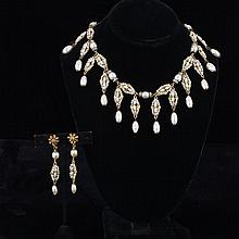 Miriam Haskell 2pc. Set; Faux pearl drop necklace & earrings