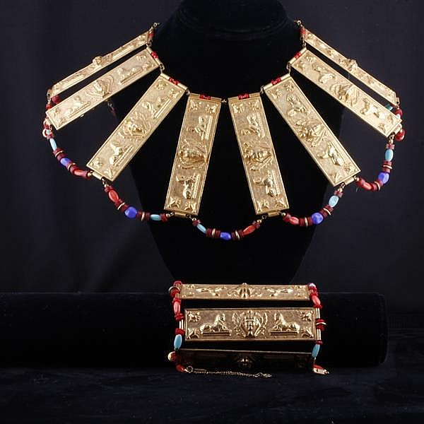 Miriam Haskell 2pc. Set; Egyptian-esque gilt metal collar necklace & bracelet