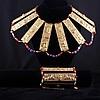 Miriam Haskell 2pc. Set; Egyptian-esque gilt metal collar necklace & bracelet