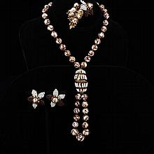 Miriam Haskell 3pc. Set; White & Chocolate Glass Beaded Necklace, Brooch Pin, & Clip Earrings.
